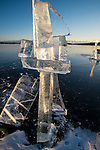 clear ice pieces on Yellowknife bay