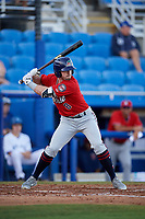 Fort Myers Miracle left fielder Jimmy Kerrigan (8) at bat during a game against the Dunedin Blue Jays on April 17, 2018 at Dunedin Stadium in Dunedin, Florida.  Dunedin defeated Fort Myers 5-2.  (Mike Janes/Four Seam Images)