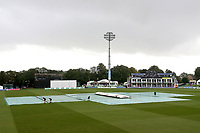 The covers are on the pitch as rain delayes play during Kent CCC vs Essex CCC, Specsavers County Championship Division 1 Cricket at the St Lawrence Ground on 18th August 2019