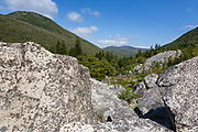 Zealand Notch from Zeacliff Trail in the White Mountains, New Hampshire during the summer months. Zeacliff Mountain is on the left. This area was part of the Zealand Valley Railroad, a logging railroad in operation from 1886-1897.