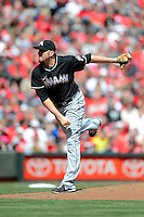 Miami Marlins pitcher Chad Qualls #50 during a game against the Cincinnati Reds at Great American Ball Park on April 20, 2013 in Cincinnati, Ohio.  Cincinnati defeated Miami 3-2 in 13 innings.  (Mike Janes/Four Seam Images)