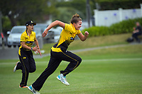 Beth Moloney chases the ball during the Hallyburton Johnstone Shield women's cricket match between Wellington Blaze and Auckland Hearts at Karori Park in Wellington, New Zealand on Saturday, 20 February 2021. Photo: Dave Lintott / lintottphoto.co.nz