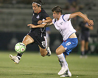 Lisa De Vanna #17 of the Washington Freedom flies past Amy LePelbet #6 of the Boston Breakers during a WPS match at Maryland Soccerplex on July 29, in Boyds, Maryland. Freedom won 1-0.