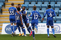 Vadaine Oliver celebrates scoring Gillingham's opening goal during Gillingham vs Oxford United, Sky Bet EFL League 1 Football at the MEMS Priestfield Stadium on 10th October 2020