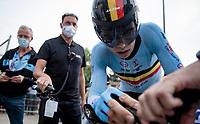 Wout van Aert (BEL/Jumbo-Visma) straight after finishing his TT <br /> <br /> Men Elite Individual Time Trial <br /> from Knokke-Heist to Bruges (43.3 km)<br /> <br /> UCI Road World Championships - Flanders Belgium 2021<br /> <br /> ©kramon