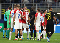 Football Soccer: UEFA Champions League -Group Stage- Group F Internazionale Milano vs  SK Slavia Praha, Giuseppe Meazza stadium, September 17, 2019.<br /> Inter's players greet Slavia Praha at the end of the Uefa Champions League football match between Internazionale Milano and Slavia Praha at Giuseppe Meazza (San Siro) stadium, September 17, 2019.<br /> Match's result 1-1.<br /> UPDATE IMAGES PRESS/Isabella Bonotto
