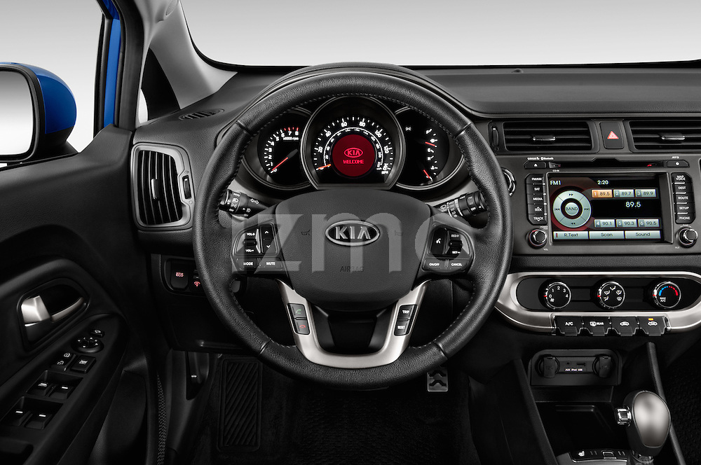 Car pictures of steering wheel view of a 2015 KIA Rio AT SX 5 Door Hatchback 2WD Steering Wheel
