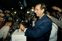 Montreal (QC)CANADA - September 25, 1989  File Photo<br /> Quebec Premier and<br /> Liberal Provincial Leader Robert Bourassa cat his vote in Outremont, on election day