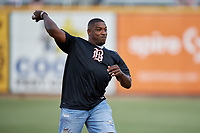 Walt Harris, The Big Ticket fighter in the UFC heavyweight division, throws out a ceremonial first pitch before a Birmingham Barons Southern League game against the Chattanooga Lookouts on July 24, 2019 at Regions Field in Birmingham, Alabama.  Chattanooga defeated Birmingham 9-1.  (Mike Janes/Four Seam Images)