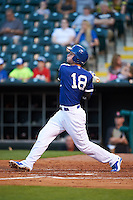 Oklahoma City Dodgers shortstop Corey Seager (18) at bat during a game against the Fresno Grizzles on June 1, 2015 at Chickasaw Bricktown Ballpark in Oklahoma City, Oklahoma.  Fresno defeated Oklahoma City 14-1.  (Mike Janes/Four Seam Images)