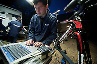 Tour de France 2012.Lotto-Belisol team .prepping the TT-bikes for tomorrows stage..