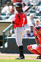 May 13, 2009:  Center Fielder Andrew McCutchen of the Indianapolis Indians, International League Class-AAA affiliate of the Pittsburgh Pirates, at bat during a game at Frontier Field in Rochester, FL.  Photo by:  Mike Janes/Four Seam Images