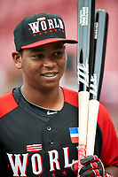 World Team Rafael Devers (13) during practice before the MLB All-Star Futures Game on July 12, 2015 at Great American Ball Park in Cincinnati, Ohio.  (Mike Janes/Four Seam Images)