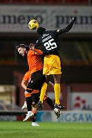 2nd October 2020; Tannadice Park, Dundee, Scotland; Scottish Premiership Football, Dundee United versus Livingston; Efe Ambrose of Livingston wins a header over Nicky Clark of Dundee United