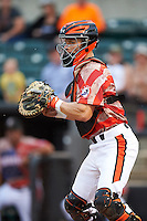 Aberdeen Ironbirds catcher Chris Shaw (58) during a game against the Tri-City ValleyCats on August 6, 2015 at Ripken Stadium in Aberdeen, Maryland.  Tri-City defeated Aberdeen 5-0 in a combined no-hitter.  (Mike Janes/Four Seam Images)
