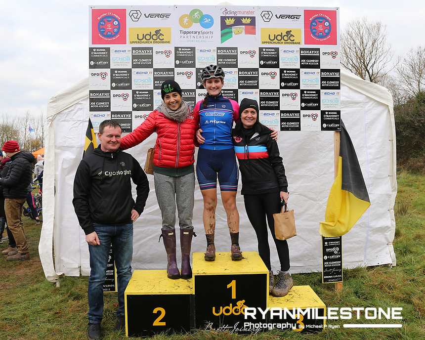EVENT:<br /> Round 5 of the 2019 Munster CX League<br /> Drombane Cross<br /> Sunday 1st December 2019,<br /> Drombane, Co Tipperary<br /> <br /> CAPTION:<br /> Podium of the Women's Race. <br /> 1st place Lucy O'Donnell of Verge Sport PI Cycles<br /> 2nd Place Grace Young of Strata Velo<br /> 3rd Place Nessa Rochford of De Ronde Van Cork CC<br /> <br /> Photo By: Michael P Ryan