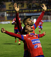 PASTO -COLOMBIA, 06-05-2017. Daniel Cataño jugador del Deportivo Pasto celebra después de anotar un gol a Rionegro Águilas durante partido por la fecha 16 de la Liga Águila I 2017 jugado en el estadio La Libertad de Pasto. / Daniel Cataño player of Deportivo Pasto celebrates after scoring a goal to Rionegro Águilas for the date 16 of Aguila League I 2017 played at La Libertad stadium in Pasto. Photo: VizzorImage / Leonardo Castro / Cont