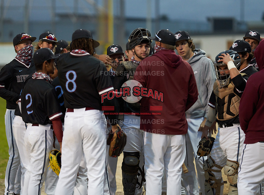 Riverview Rams head coach Jeremy Schmidt talks with his team before warmups before a game against the Sarasota Sailors on February 19, 2021 at Rams Baseball Complex in Sarasota, Florida. (Mike Janes/Four Seam Images)