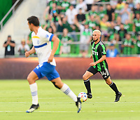 AUSTIN, TX - JUNE 19: Diego Fagundez #14 of Austin FC brings the ball up the field during a game between San Jose Earthquakes and Austin FC at Q2 Stadium on June 19, 2021 in Austin, Texas.