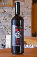 Toreta Vinarija Stolno Crno Vino red wine Toreta Vinarija Winery Toreta Vinarija Winery in Smokvica village on Korcula island. Vinarija Toreta Winery, Smokvica town. Peljesac peninsula. Dalmatian Coast, Croatia, Europe.