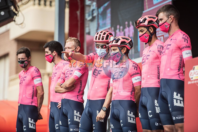 EF Education-Nippo at sign on before the start of Stage 9 of La Vuelta d'Espana 2021, running 188km from Puerto Lumbreras to Alto de Velefique, Spain.    <br /> Picture: Unipublic/Charly Lopez | Cyclefile<br /> <br /> All photos usage must carry mandatory copyright credit (© Cyclefile | Charly Lopez/Unipuplic)