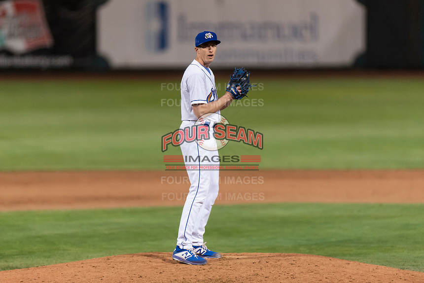 Omaha Storm Chasers relief pitcher Tim Hill (37) during a Pacific Coast League game against the Memphis Redbirds on April 26, 2019 at Werner Park in Omaha, Nebraska. Memphis defeated Omaha 7-3. (Zachary Lucy/Four Seam Images)