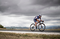 Julian Alaphilippe (FRA/Deceuninck-QuickStep) soloing towards the rainbow stripes<br /> <br /> Men's Elite Road Race from Imola to Imola (258km)<br /> <br /> 87th UCI Road World Championships 2020 - ITT (WC)<br /> <br /> ©kramon