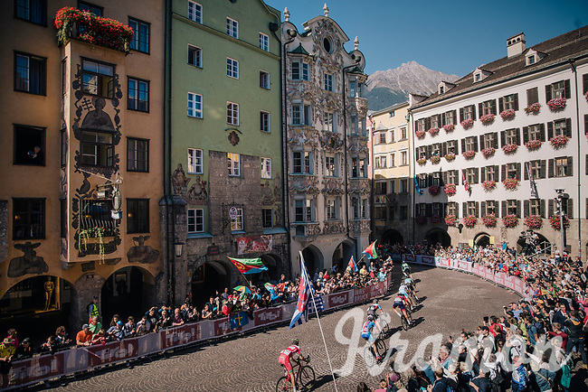 racing downtown Innsbruck<br /> <br /> MEN ELITE ROAD RACE<br /> Kufstein to Innsbruck: 258.5 km<br /> <br /> UCI 2018 Road World Championships<br /> Innsbruck - Tirol / Austria