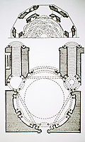 Plan of The Cappella Sansevero, a chapel in Naples Italy. It contains works of Rococo art by some of the leading Italian artists of the 18th century
