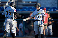 West Virginia Black Bears Ethan Paul (62) congratulates Fernando Villegas (25) after a home run during a NY-Penn League game against the Auburn Doubledays on August 23, 2019 at Falcon Park in Auburn, New York.  West Virginia defeated Auburn 8-1, the first game of a doubleheader.  (Mike Janes/Four Seam Images)