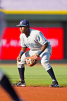 Second baseman Deivy Batista #11 of the Wilmington Blue Rocks on defense against the Winston-Salem Dash at BB&T Ballpark on April 23, 2011 in Winston-Salem, North Carolina.   Photo by Brian Westerholt / Four Seam Images