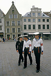 Riga Latvia 1980s A Baltic State country part of the USSR. Old Town, three young sailors in uniform  1989
