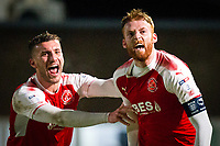 Cian Bolger of Fleetwood Town celebrates scoring his side's second goal with Baily Cargill of Fleetwood Town during the FA Cup 2nd round replay match between Hereford and Fleetwood Town at Edgar Street, Hereford, UK on 14 December 2017. Photo by Mark Hawkins / PRiME Media Images.