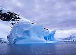 Icebergs off the coast of Cuverville Island on the Antarctic Peninsula.