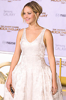LOS ANGELES, CA, USA - NOVEMBER 17: Jennifer Lawrence arrives at the Los Angeles Premiere Of Lionsgate's 'The Hunger Games: Mockingjay, Part 1' held at Nokia Theatre L.A. Live on November 17, 2014 in Los Angeles, California, United States. (Photo by Rudy Torres/Celebrity Monitor)