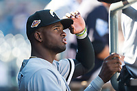 Glendale Desert Dogs designated hitter Luis Robert (20), of the Chicago White Sox organization, in the dugout during an Arizona Fall League game against the Peoria Javelinas at Peoria Sports Complex on October 22, 2018 in Peoria, Arizona. Glendale defeated Peoria 6-2. (Zachary Lucy/Four Seam Images)