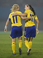 Sweden forward (11) Victoria Svensson and midfielder (150  Therese Sjogran. Sweden (SWE) tied Nigeria (NGA) 1-1 during a FIFA Women's World Cup China 2007 opening round Group B match at Chengdu Sports Center Stadium, Chengdu, China, on September 11, 2007.