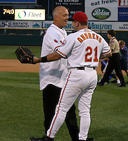 August 29, 2003:  Shane Andrews greets Cal Ripken Jr. after throwing out the first pitch as Ripken was inducted into the Rochester Red Wings Hall of Fame before an International League game at Frontier Field in Rochester, NY.  Photo by:  Mike Janes/Four Seam Images