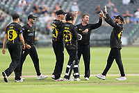 Tom Smith of Gloucestershire celebrates with his team mates after taking the wicket of Michael Pepper during Gloucestershire vs Essex Eagles, Royal London One-Day Cup Cricket at the Bristol County Ground on 3rd August 2021