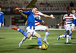 Hamilton Accies v St Johnstone …03.03.21   Fountain of Youth Stadium   SPFL<br />Jamie McCart is closed down by Scott McMann<br />Picture by Graeme Hart.<br />Copyright Perthshire Picture Agency<br />Tel: 01738 623350  Mobile: 07990 594431