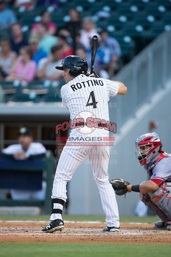 Vinny Rottino (4) of the Charlotte Knights at bat against the Syracuse Chiefs at BB&T BallPark on June 1, 2016 in Charlotte, North Carolina.  The Knights defeated the Chiefs 5-3.  (Brian Westerholt/Four Seam Images)