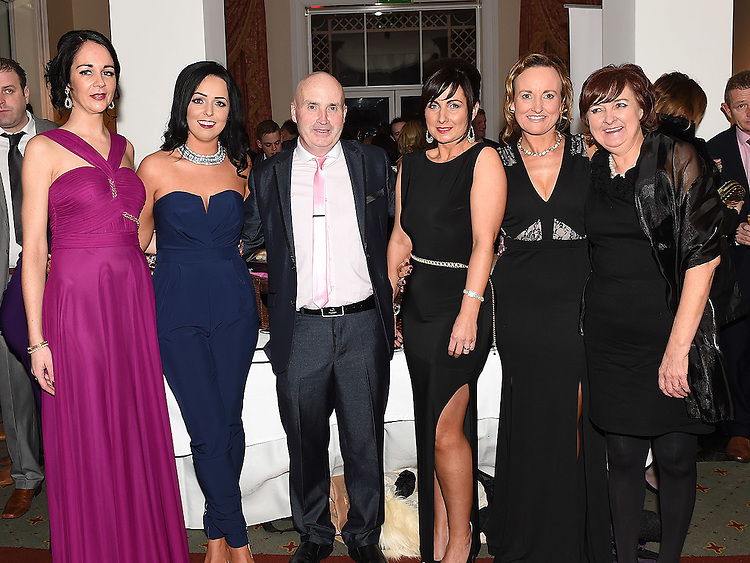 Kerry Kavanagh, Sarah Fay, Tom Muldoon, Louise Duff, Deirdre Muldoon and Deirdre Whelan winners of the 'Best Ice Bucket Challenge' Award at the Ardee Traders Awards night in the Nuremore hotel Carrickmacross. Photo:Colin Bell/pressphotos.ie