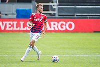 SAN JOSE, CA - APRIL 24: Bressan #4 of FC Dallas looks up to pass the ball during a game between FC Dallas and San Jose Earthquakes at PayPal Park on April 24, 2021 in San Jose, California.