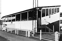 The main stand at Wembley FC, Vale Farm, Wembley, London, pictured on 30th September 1987