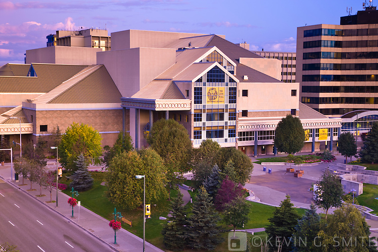 Town Square and the Performing Arts Center, early morning, late summer, downtown Anchorage, Southcentral Alaska, USA.