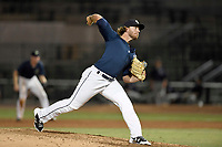 Pitcher Cameron Griffin (33) of the Columbia Fireflies delivers a pitch in a game against the Charleston RiverDogs on Monday, August 7, 2017, at Spirit Communications Park in Columbia, South Carolina. Columbia won, 6-4. (Tom Priddy/Four Seam Images)