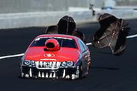 Nov. 11, 2012; Pomona, CA, USA: NHRA pro stock driver V. Gaines during the Auto Club Finals at at Auto Club Raceway at Pomona. Mandatory Credit: Mark J. Rebilas-
