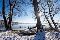 Schnee und Eis am Göttiner See, Insel Töplitz, Werder/Havel, Potsdam-Mittelmark, Havelland, Brandenburg, Deutschland