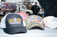 James Bragg, of Dallas, Tex., (not pictured) sells buttons, shirts, hats, and other Cruz merchandise made by My Campaign Wear, before Texas senator and Republican presidential candidate Ted Cruz speaks at a Second Amendment Rally outside Granite State Indoor Range in Hudson, New Hampshire.