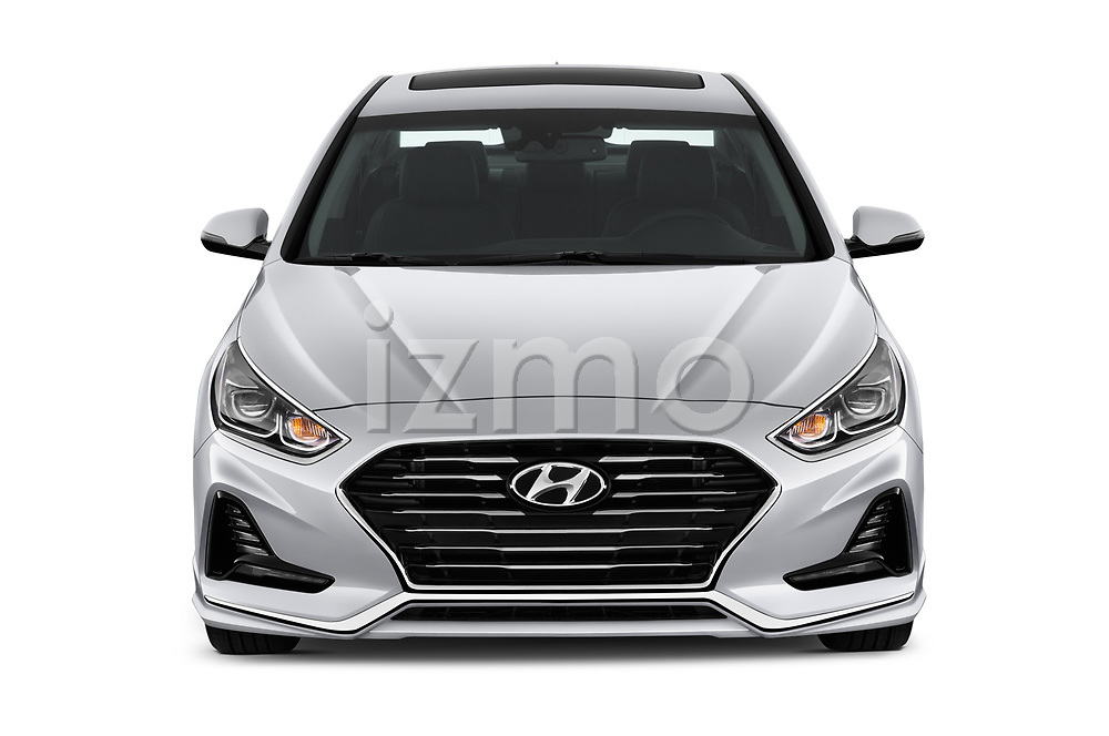Car photography straight front view of a 2018 Hyundai Sonata Limited 4 Door Sedan